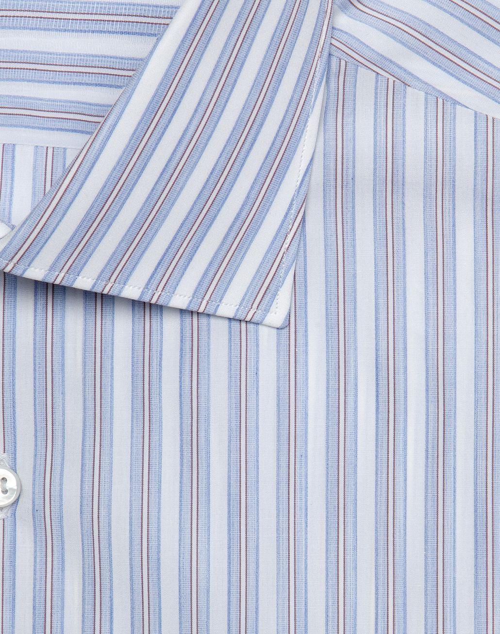 BRIONI Camicia Comfort Bianca a Righe Color Whisky e Azzurro   Camicie formali Uomo r