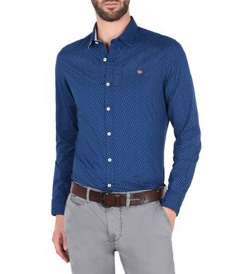 NAPAPIJRI GISBORNE MAN LONG SLEEVE SHIRT,BLUE