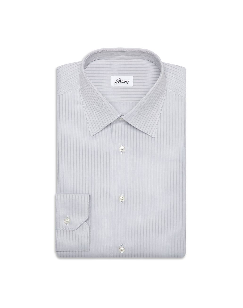 BRIONI Grey Striped Shirt Formal shirt Man f