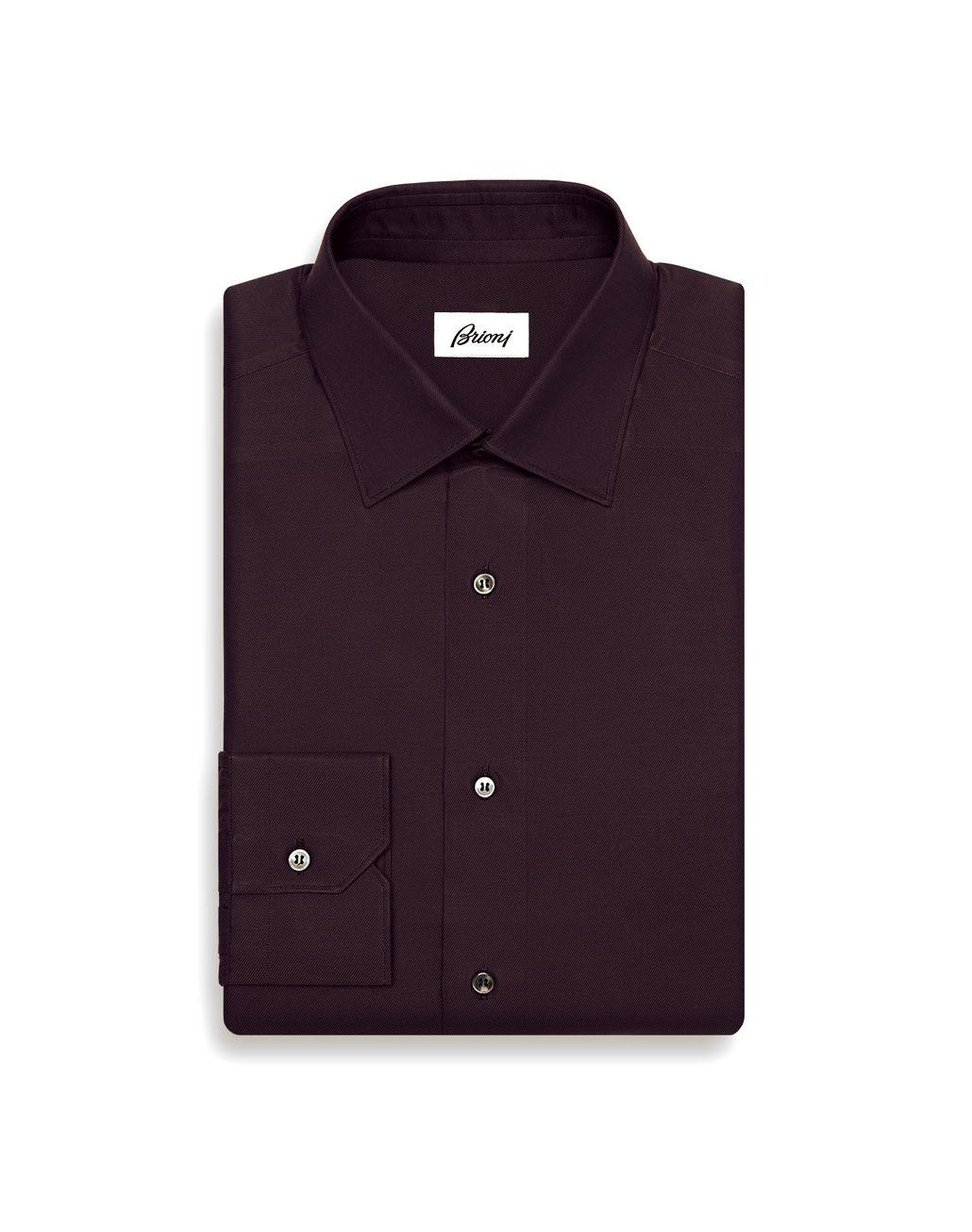BRIONI 酒红色修身衬衫 正装衬衫 男士 f