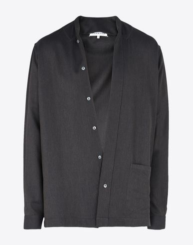 MAISON MARGIELA Long sleeve shirt U Collarless flannel twill shirt f