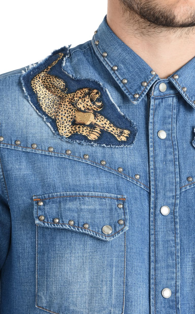 JUST CAVALLI Denim shirt with detailing Denim shirt Man e