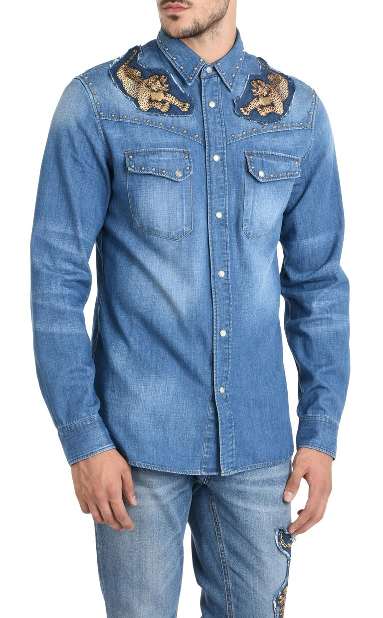 JUST CAVALLI Denim shirt with detailing Denim shirt Man f