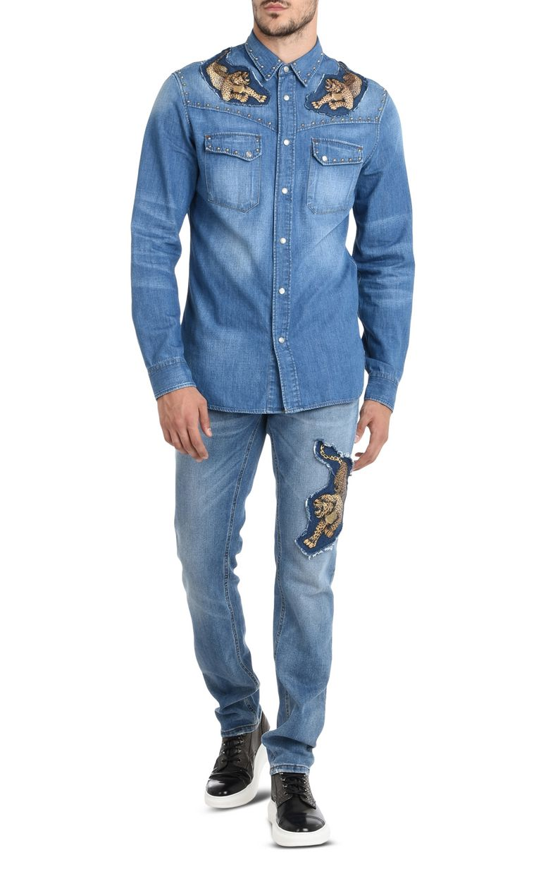 JUST CAVALLI Denim shirt with detailing Denim shirt Man r