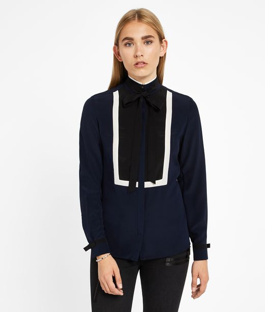 KARL LAGERFELD Silk Color Block Blouse W/ Tie 12_f