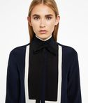 Silk Color Block Blouse W/ Tie