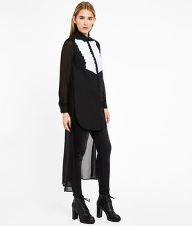 KARL LAGERFELD LONG SILK BACK PLASTRON SHIRT