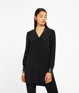 KARL LAGERFELD SILK TUNIC W/ LEATHER TRIM