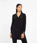 KARL LAGERFELD Silk Tunic W/ Leather Trim 8_f