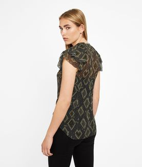 KARL LAGERFELD ZIP DETAIL SILK RUFFLE TOP