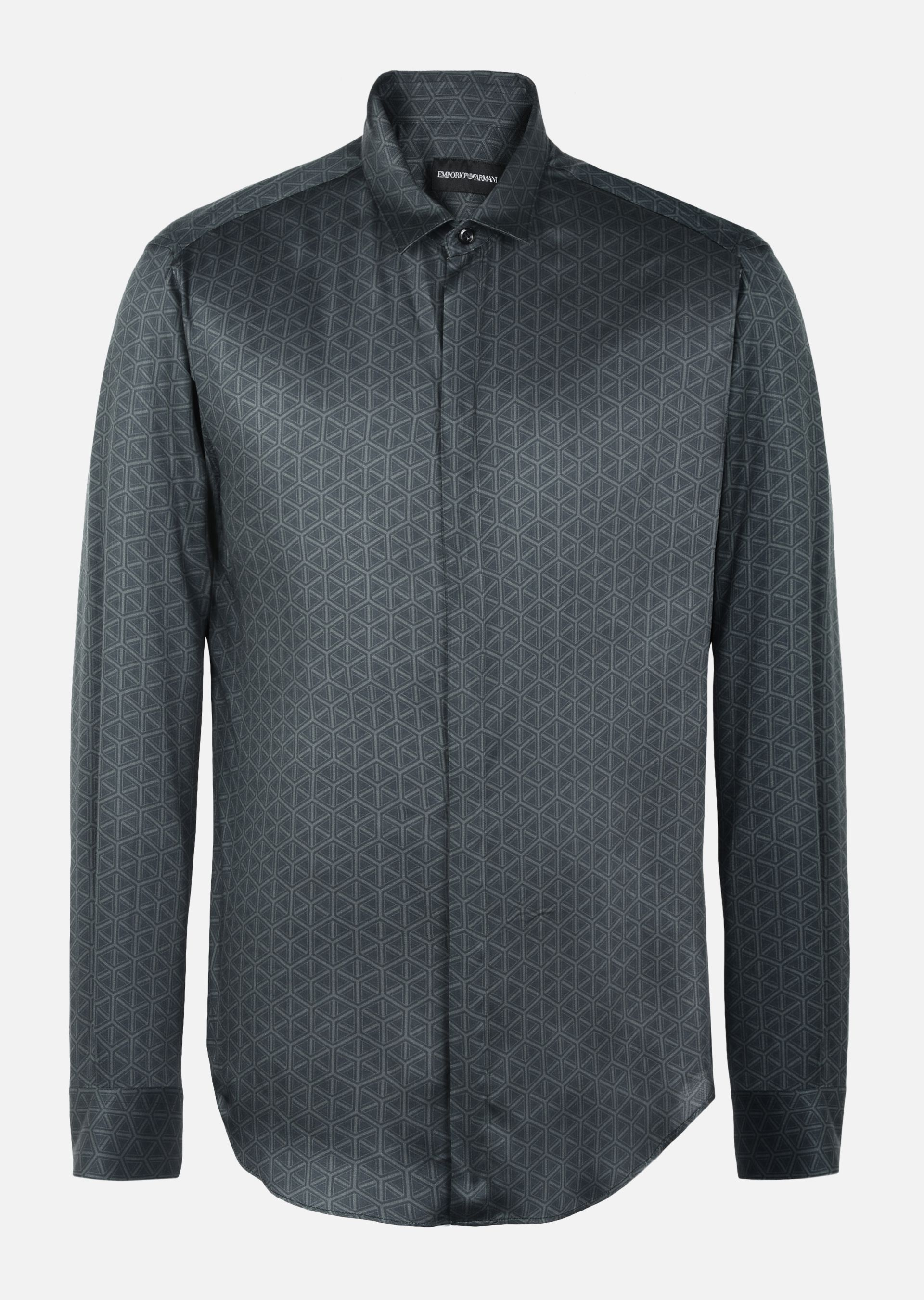 GEOMETRIC PATTERNED SHIRT WITH ITALIAN COLLAR for Men | Emporio Armani