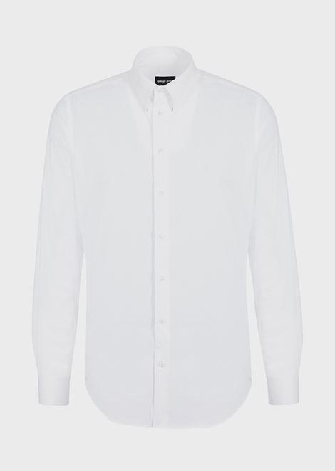 Camicia in misto cotone stretch con collo piccolo