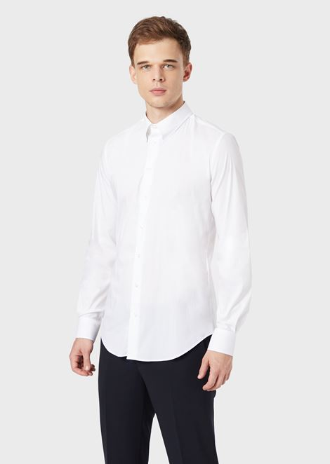 Stretch cotton blend shirt with small collar