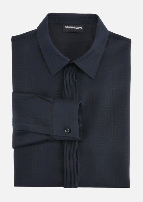 SLIM FIT SHIRT IN STRETCH COTTON BLEND JACQUARD