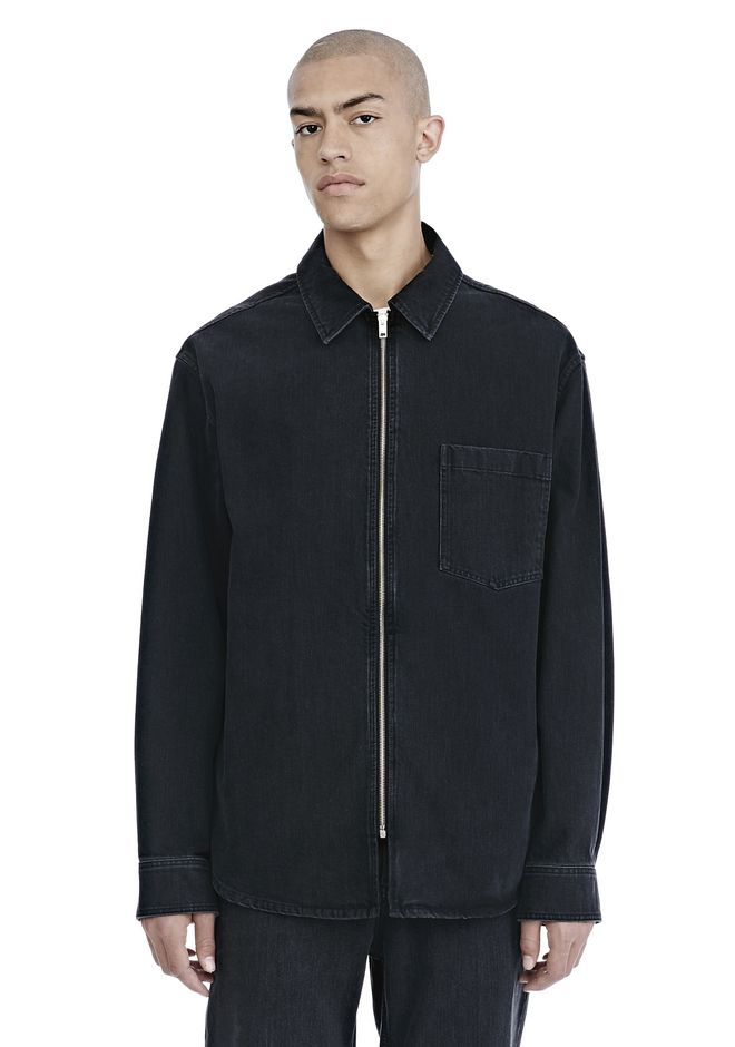 ALEXANDER WANG SHIRTS Men BLACK DENIM ZIP FRONT SHIRT