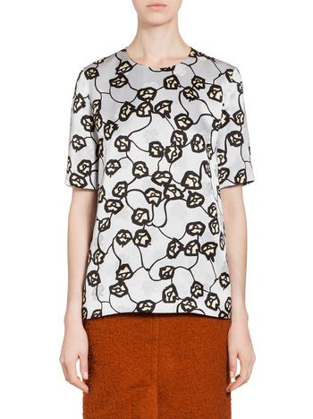 Marni Shirt in satin jacquard with Fleshy print Woman