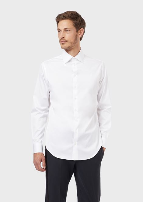 FRENCH COLLAR COTTON TWILL SHIRT