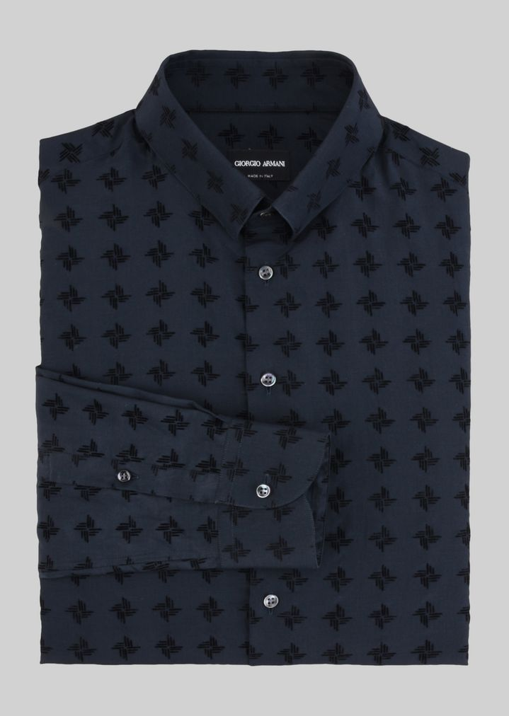 ... GIORGIO ARMANI SHIRT IN SILK AND COTTON WITH SPREAD COLLAR Classic Shirt  Man r ...