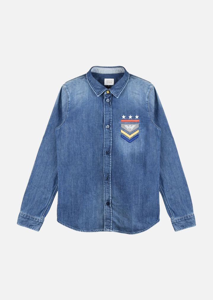 Jeans Junior Ricamo Armani Camicia Bambino In Con 7Pw50qZ0