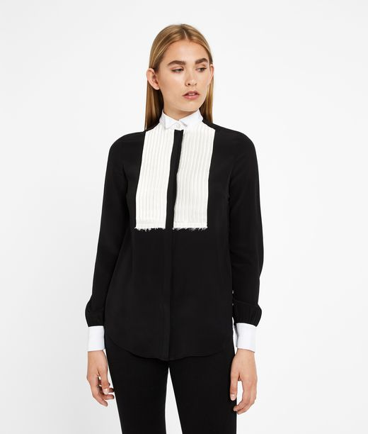 KARL LAGERFELD Contrast Bib Silk Shirt 12_f