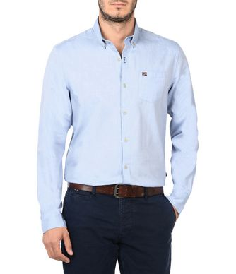NAPAPIJRI GEELONG MAN LONG SLEEVE SHIRT,SKY BLUE
