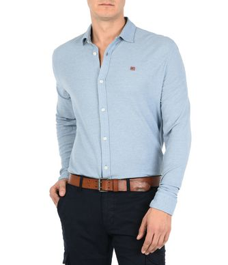 NAPAPIJRI GERALD MAN LONG SLEEVE SHIRT,SKY BLUE