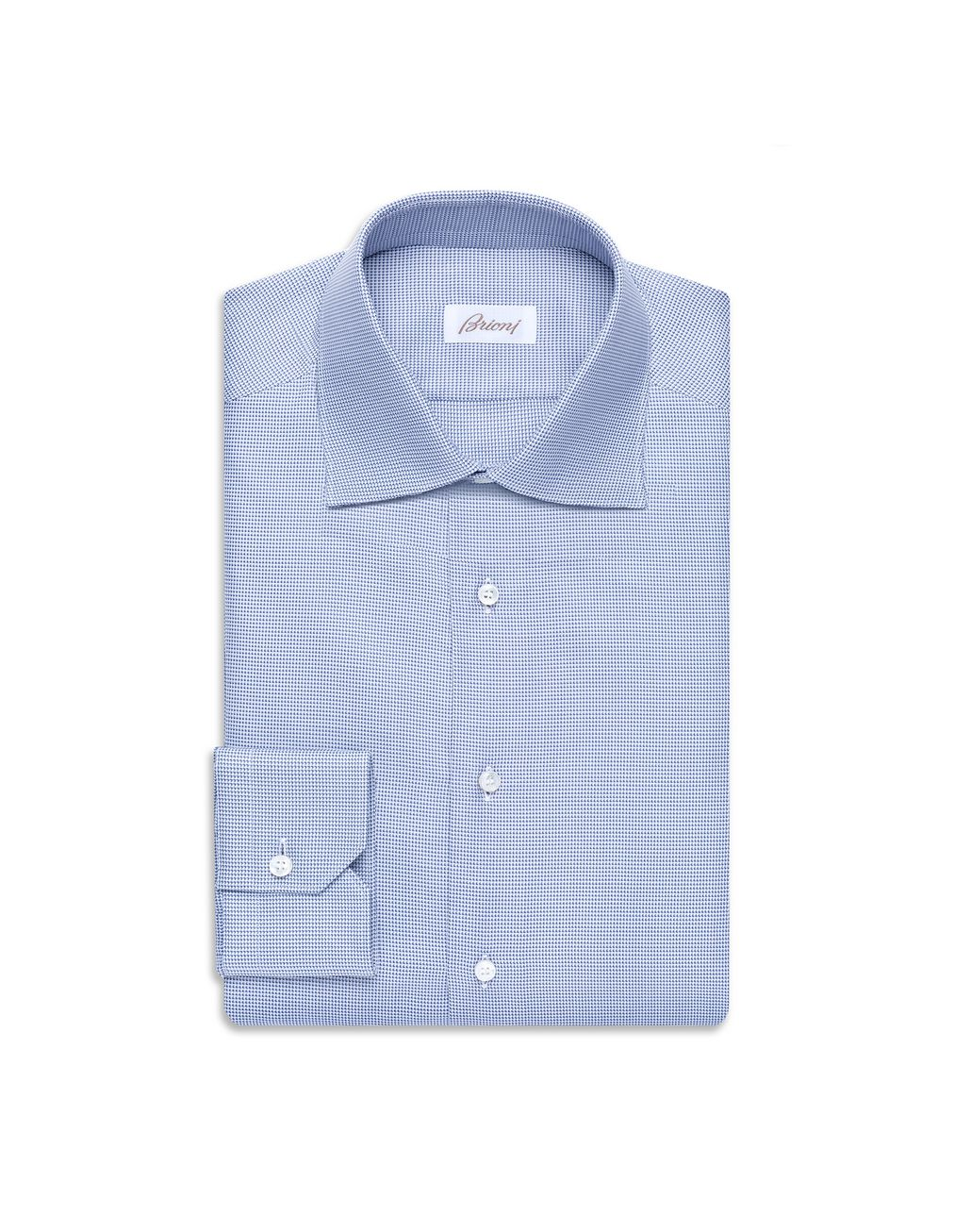 BRIONI Bluette and White Micro -Designed Formal Shirt Formal shirt Man f