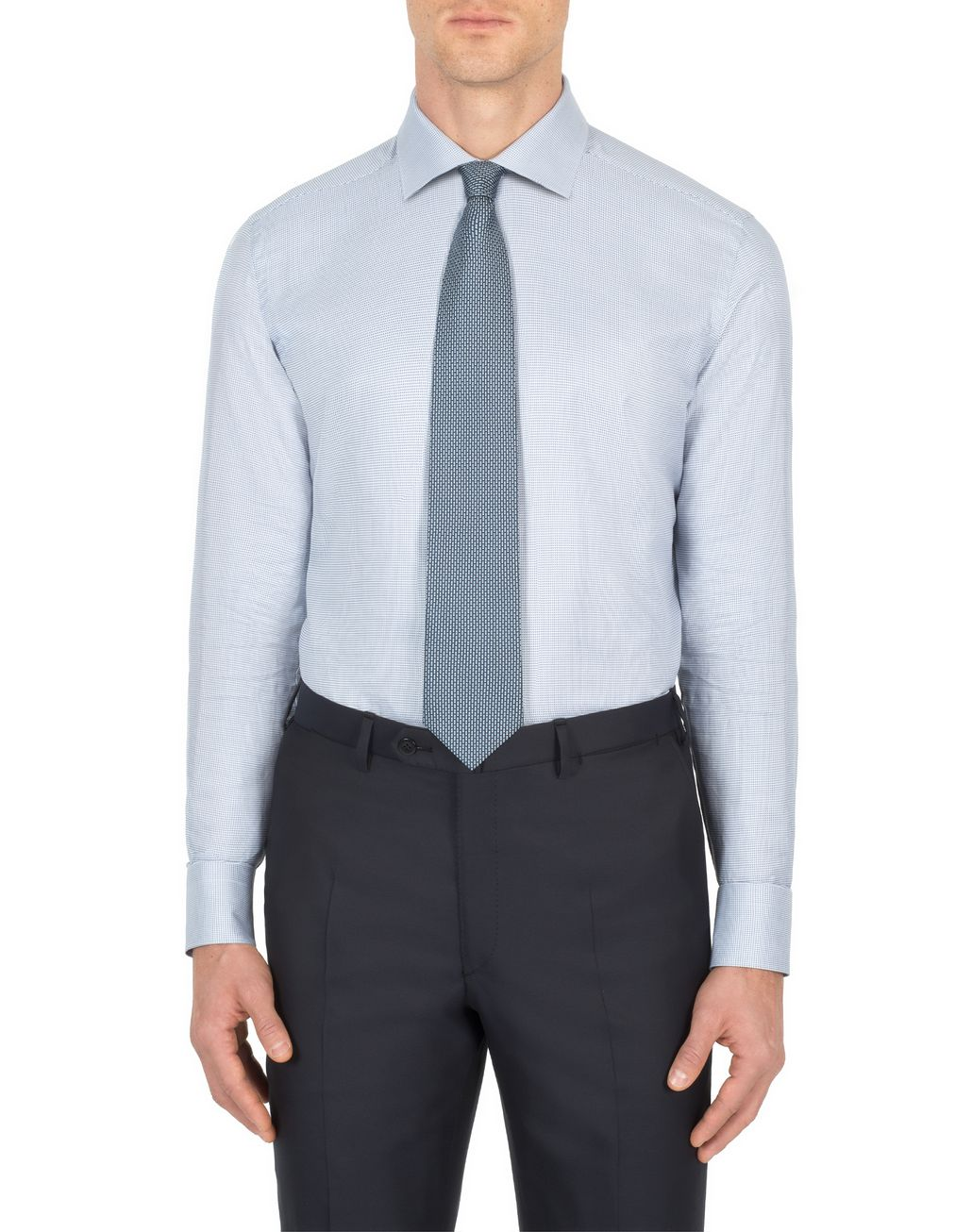 BRIONI Bluette and White Micro -Designed Formal Shirt Formal shirt Man r