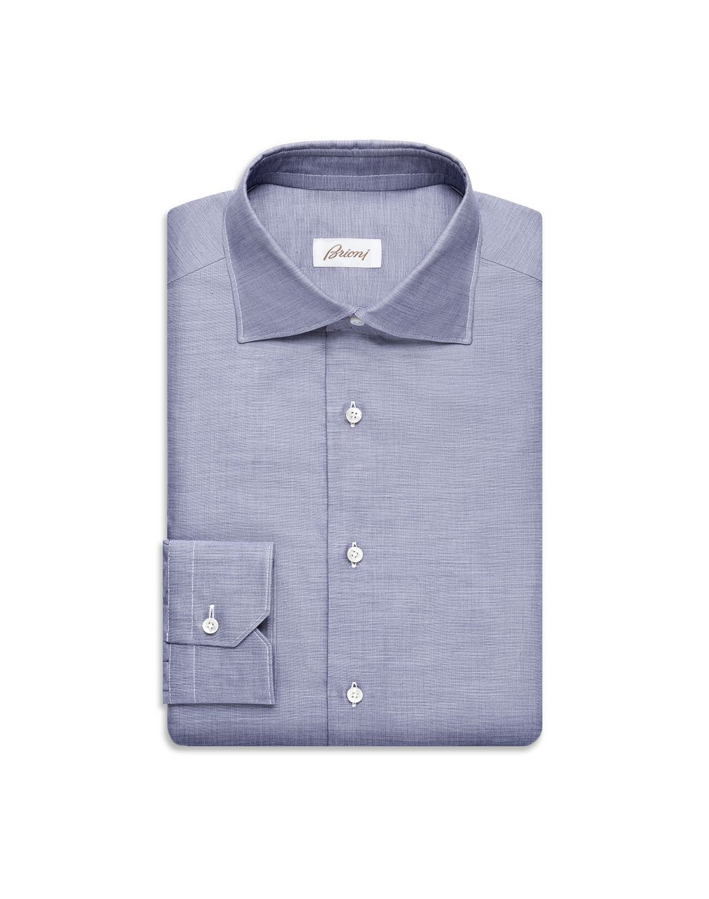 BRIONI Navy-Blue Grisaille-Effect Formal Shirt  Formal shirt U f