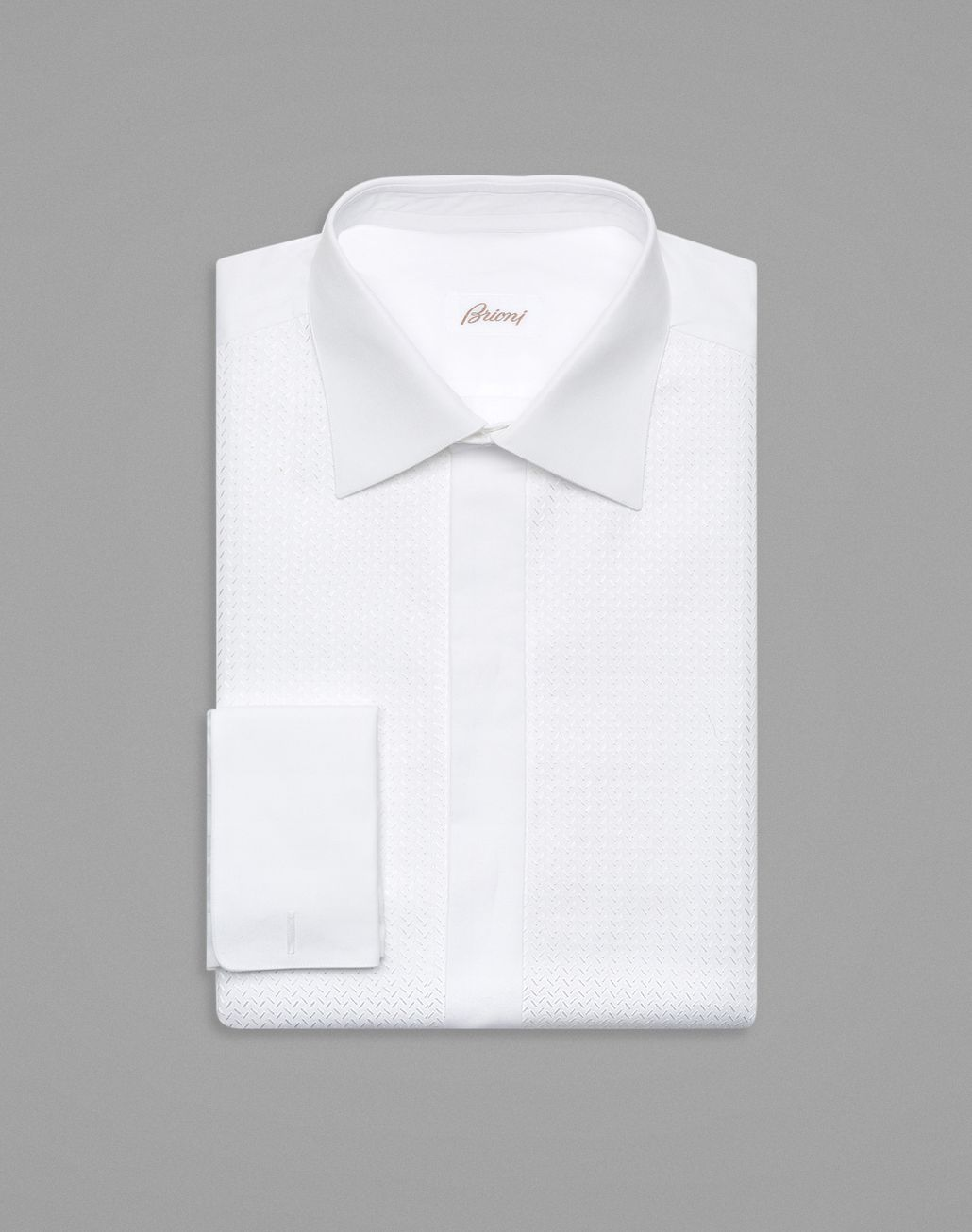 BRIONI White Plastron Evening Shirt Formal shirt Man f