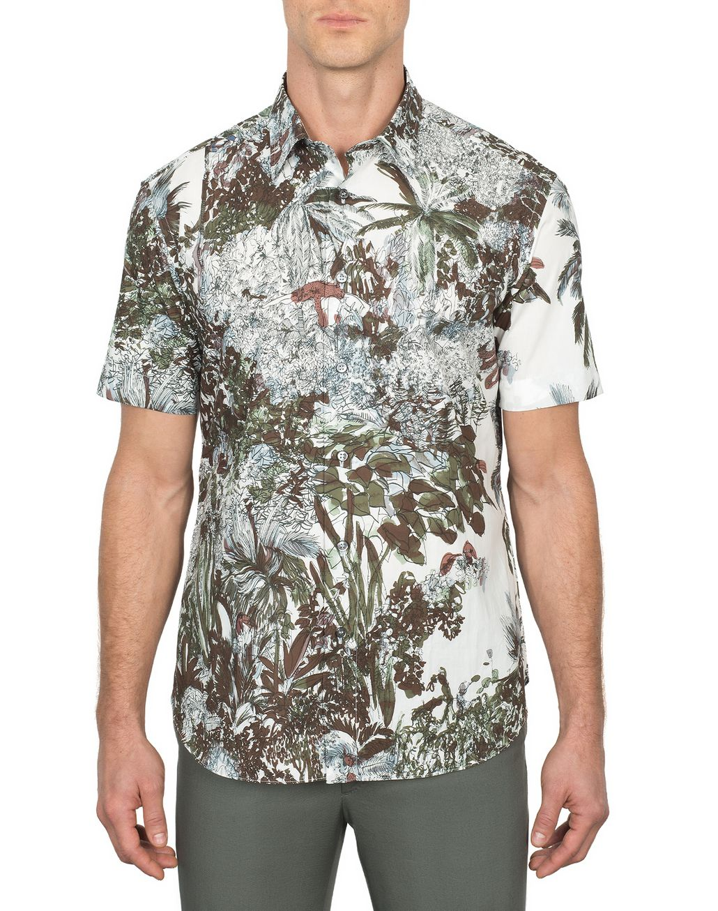 BRIONI Short Sleeves Printed Shirt Leisure shirt Man r