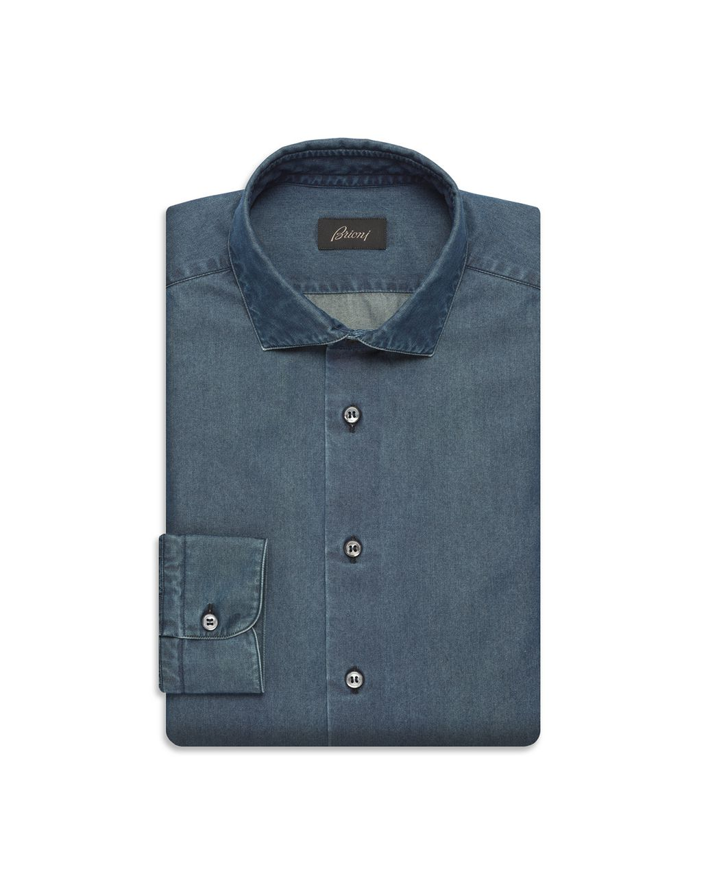 BRIONI Blue Denim Shirt Leisure shirt U f