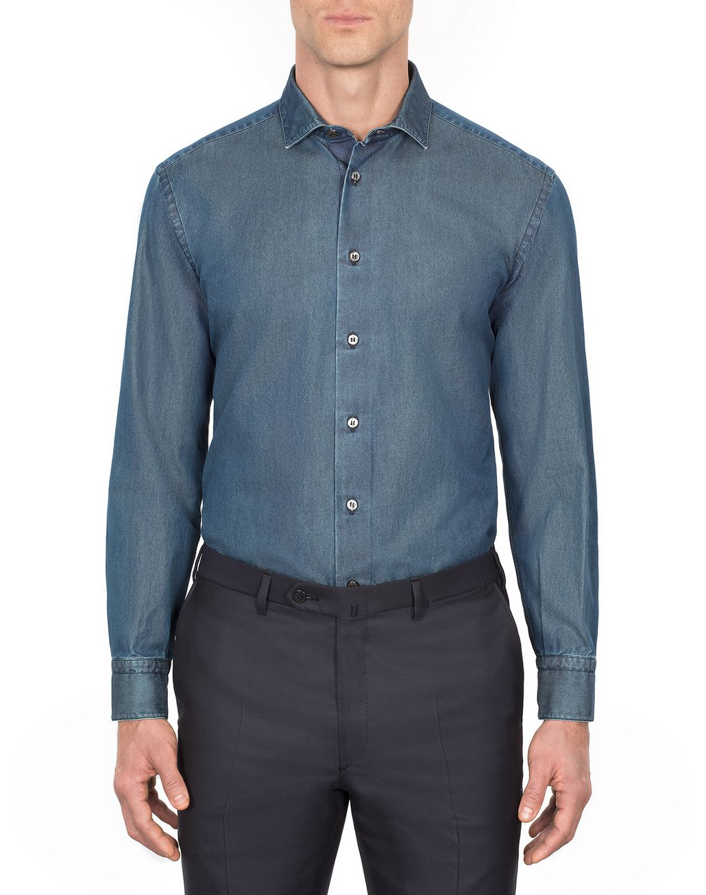 BRIONI Blue Denim Shirt Leisure shirt Man r