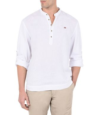 NAPAPIJRI GRISE MAN LONG SLEEVE SHIRT,WHITE