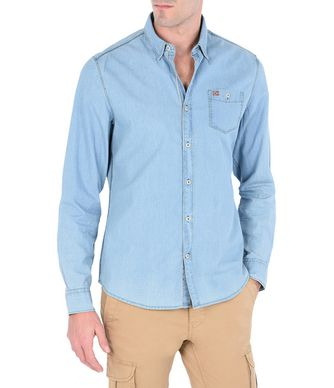 NAPAPIJRI GILBRAL MAN LONG SLEEVE SHIRT,SKY BLUE