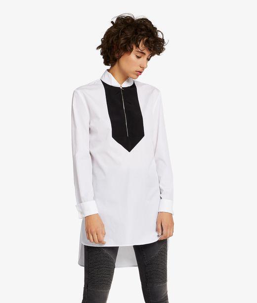 KARL LAGERFELD Tunic Shirt W/ Grosgrain Bib 12_f