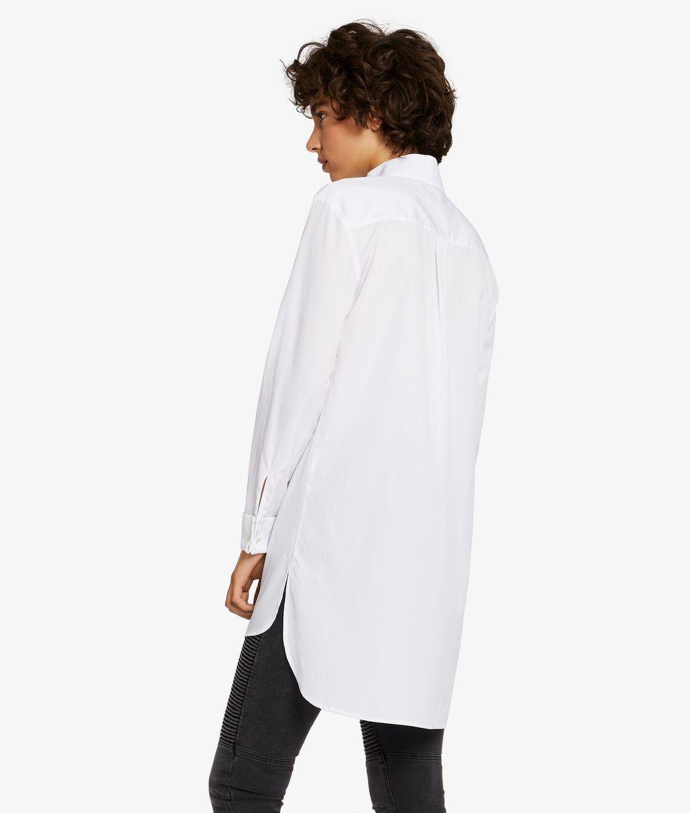 KARL LAGERFELD Tunic Shirt W/ Grosgrain Bib Blouse Woman d