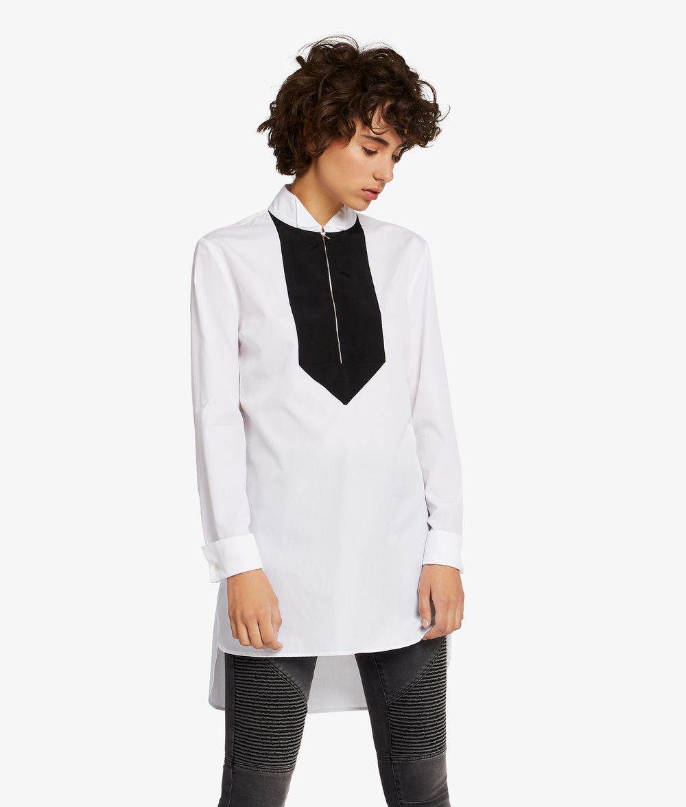 KARL LAGERFELD Tunic Shirt W/ Grosgrain Bib Blouse Woman f