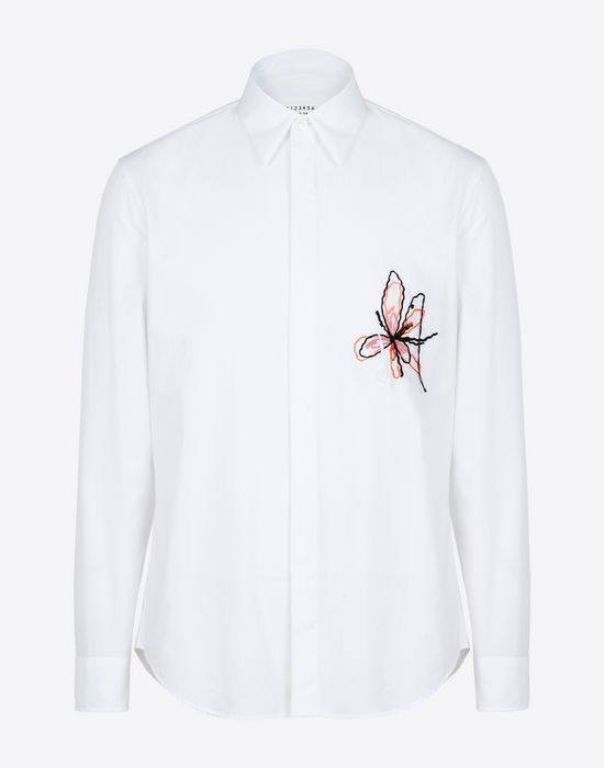 MAISON MARGIELA Cotton shirt with embroidered detail Long sleeve shirt Man f