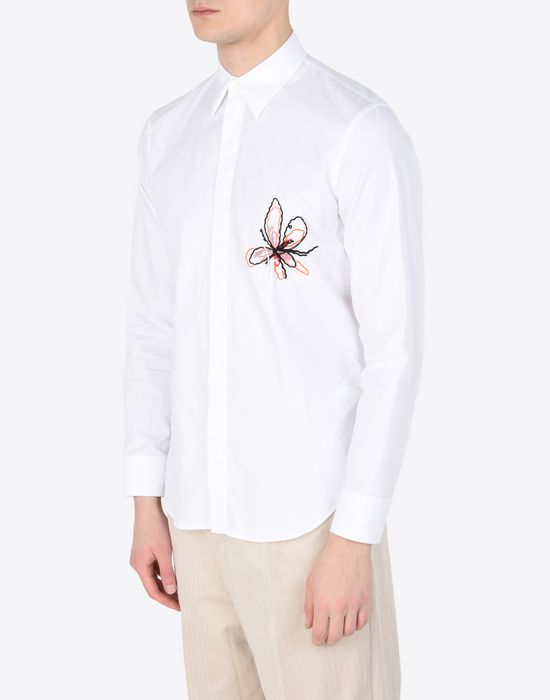 MAISON MARGIELA Cotton shirt with embroidered detail Long sleeve shirt Man r