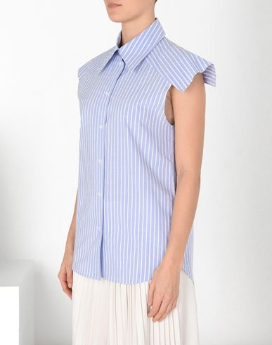 MM6 MAISON MARGIELA Short sleeve shirt Woman Stripe shirt with oversized shoulders f