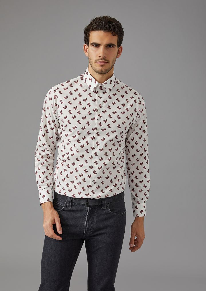 GIORGIO ARMANI Shirt with dog pattern Casual Shirt Man f ...