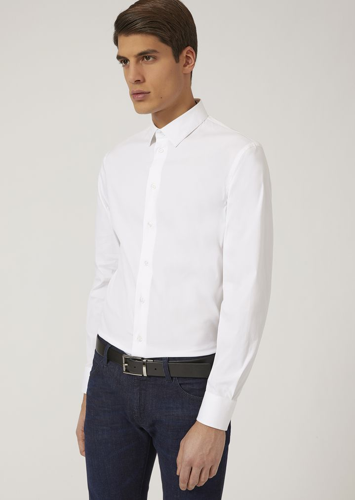 EMPORIO ARMANI SLIM FIT SHIRT IN STRETCH COTTON Classic Shirt Man f ...