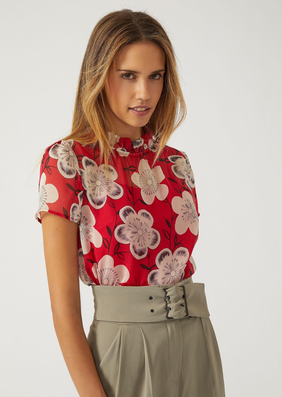 EMPORIO ARMANI Floral silk chiffon blouse Blouse D f