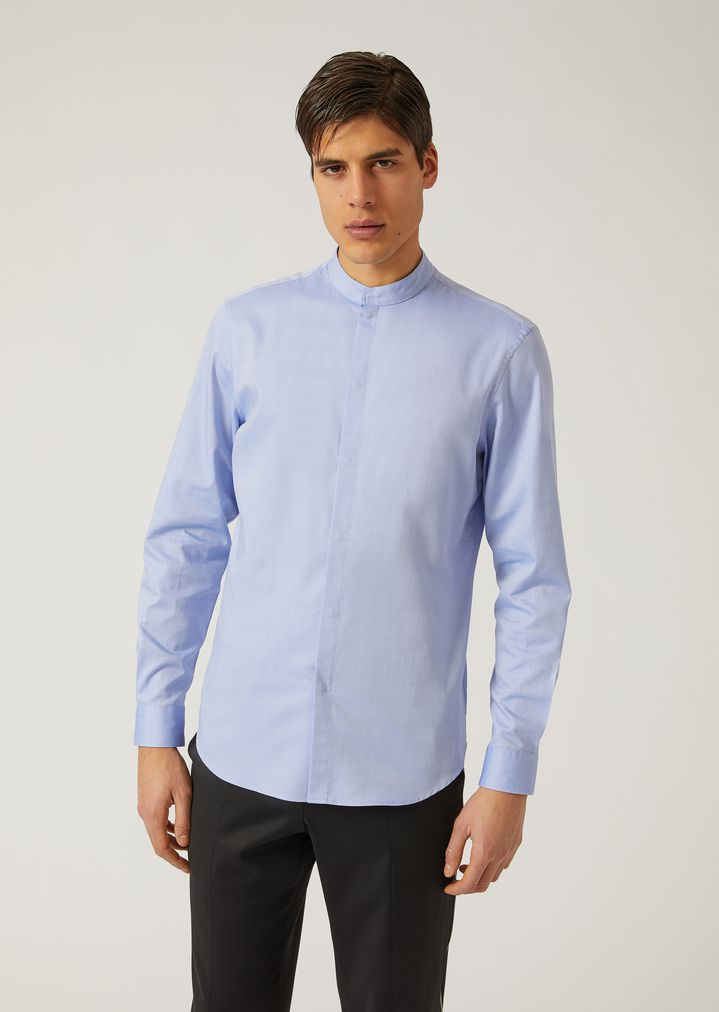 fee76624414 COTTON CANVAS SHIRT WITH MANDARIN COLLAR