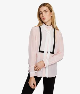 KARL LAGERFELD SILK COLORBLOCK BOW BLOUSE