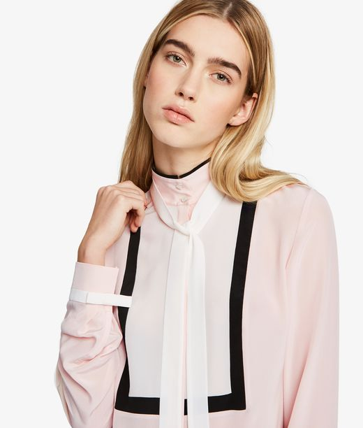 KARL LAGERFELD Silk Colorblock Bow Blouse 12_f