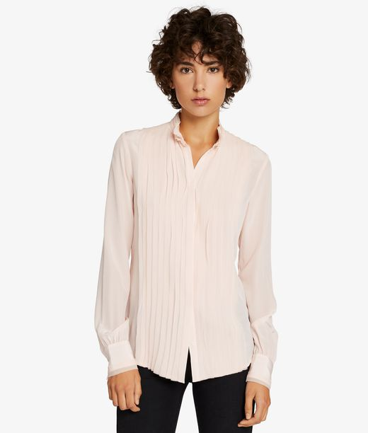 KARL LAGERFELD Silk Raw Edge Plastron Shirt 12_f