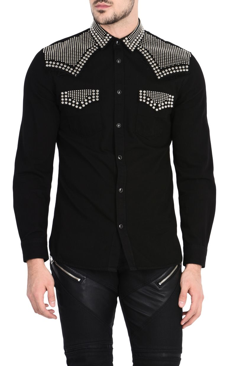 JUST CAVALLI Dark denim shirt with studs Long sleeve shirt Man f
