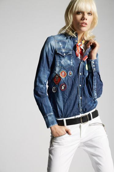 DSQUARED2 Denim shirt Woman S75DL0565S30341470 m
